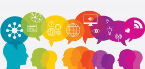 Graphic of people and speech bubbles